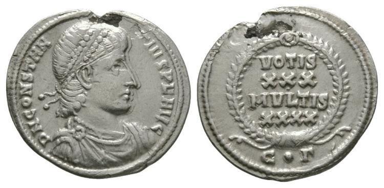 Ancient Roman Imperial Coins - Constantius II - Wreath Heavy Siliqua