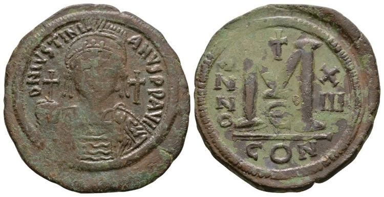 Ancient Byzantine Coins - Justinian I - Follis