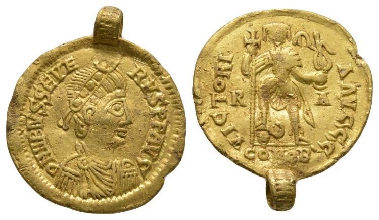 Saxon Coins - Visigoth Issue - Libius Severus (Severus III) - Emperor Standing Gold Solidus