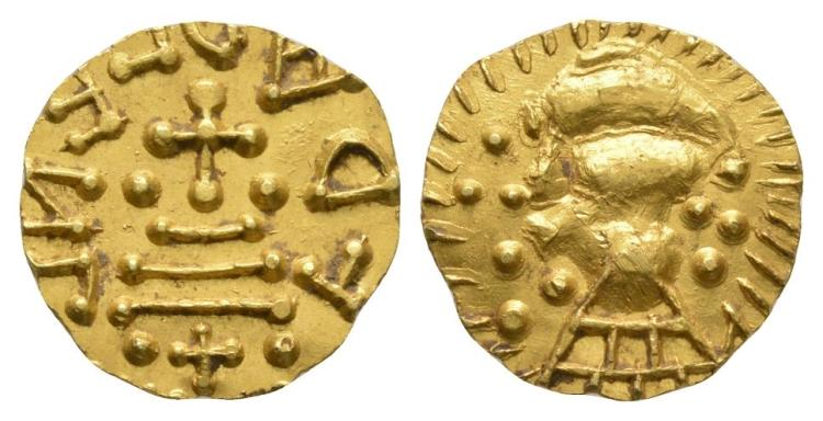 Merovingian Coins - Francia - Gold Tremissis
