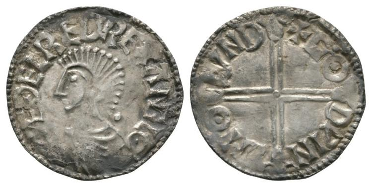 Anglo-Saxon Coins - Aethelred II - London / Godwine - Long Cross Penny