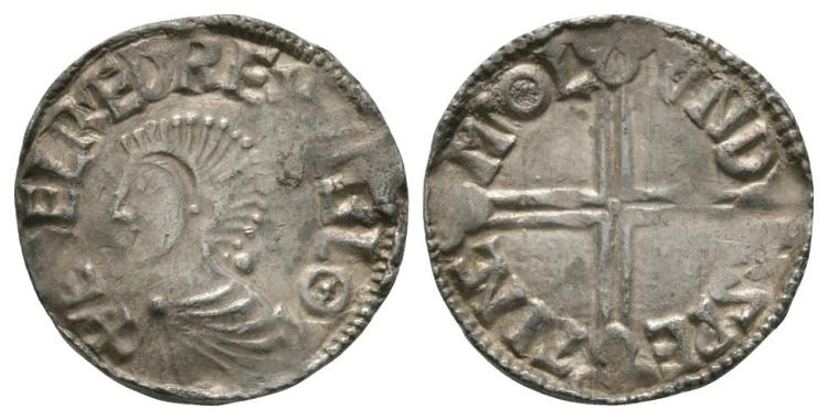 Anglo-Saxon Coins - Aethelred II - London / Sweting - Long Cross Penny