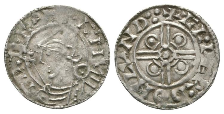 Anglo-Saxon Coins - Cnut - London / Æthelweard - Pointed Helmet Penny