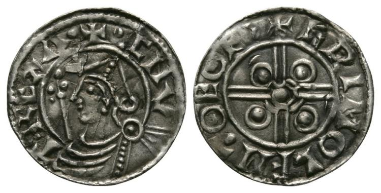 Anglo-Saxon Coins - Cnut - York / Grimulf - Pointed Helmet Penny