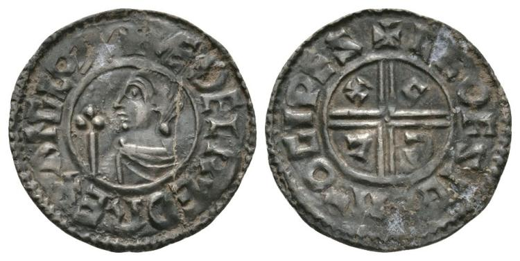 Anglo-Saxon Coins - Aethelred II - Ipswich / Leofsige - CRVX Penny