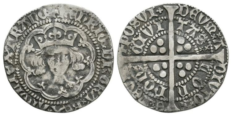 English Medieval Coins - Henry V - Frowning Bust Groat