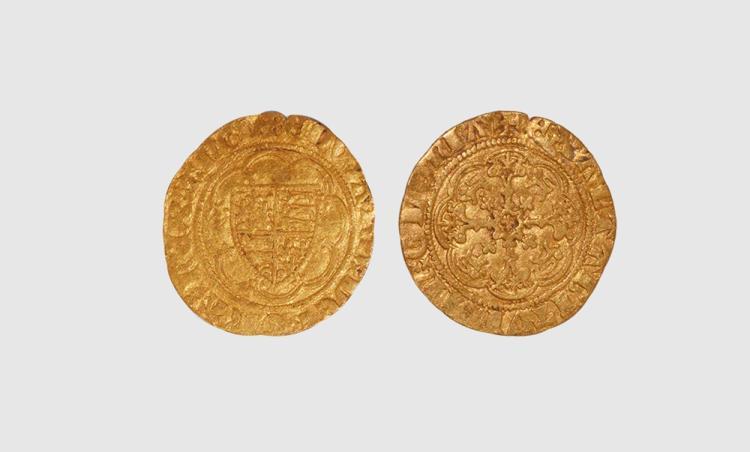 English Medieval Coins - Edward III - London - Treaty Gold Quarter Noble