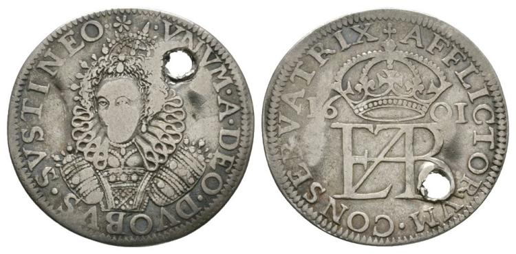 English Tudor Coins - Elizabeth I - 1601 - Pattern Groat