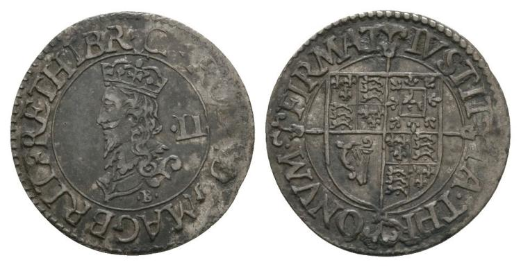 English Stuart Coins - Charles I - Tower - Briot Milled Halfgroat