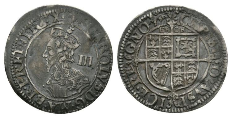 English Stuart Coins - Charles I - York - Threepence