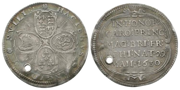 English Commemorative Medals - Charles I - 1630 - Birth of Prince Charles Silver Medallion