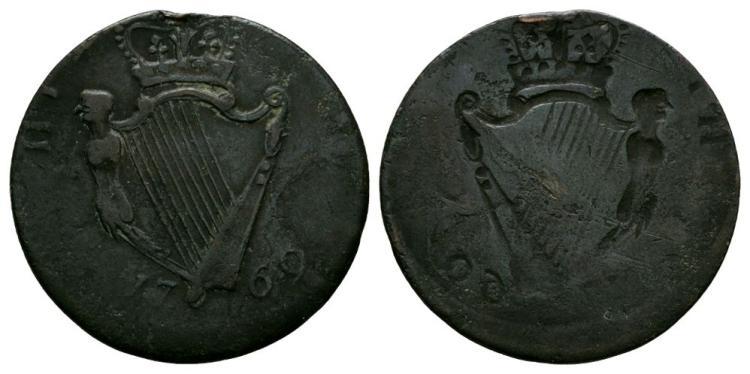 World Coins - Ireland - George III - 1769 - Reverse Brockage Evasion Halfpenny