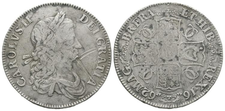 English Milled Coins - Charles II - 1662 - Crown