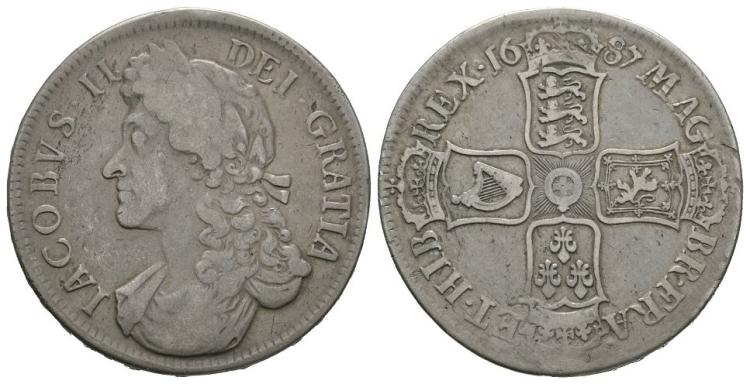 English Milled Coins - James II - 1687 TERTIO - Crown