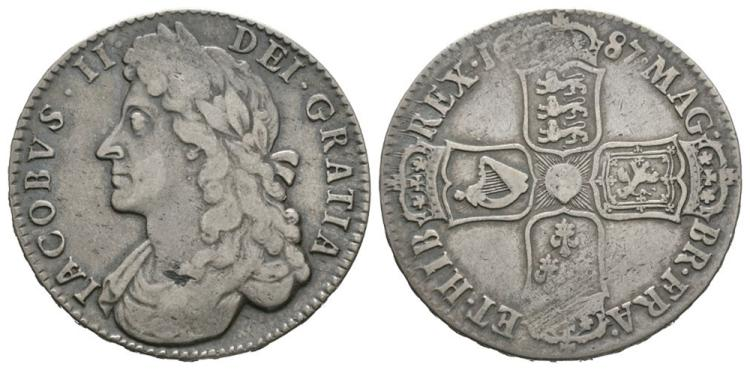 English Milled Coins - James II - 1687 TERTIO - Halfcrown