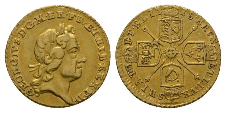 English Milled Coins - George I - 1718 - Gold Quarter Guinea