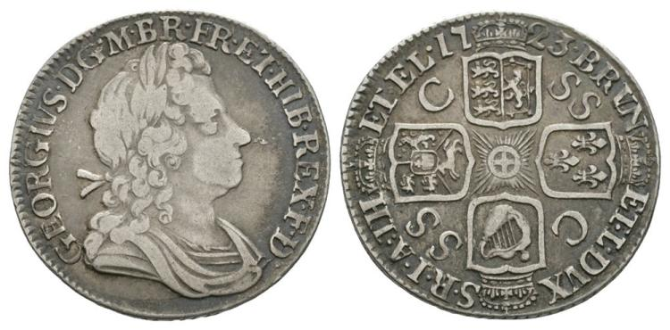English Milled Coins - George I - 1723 SSC - Shilling