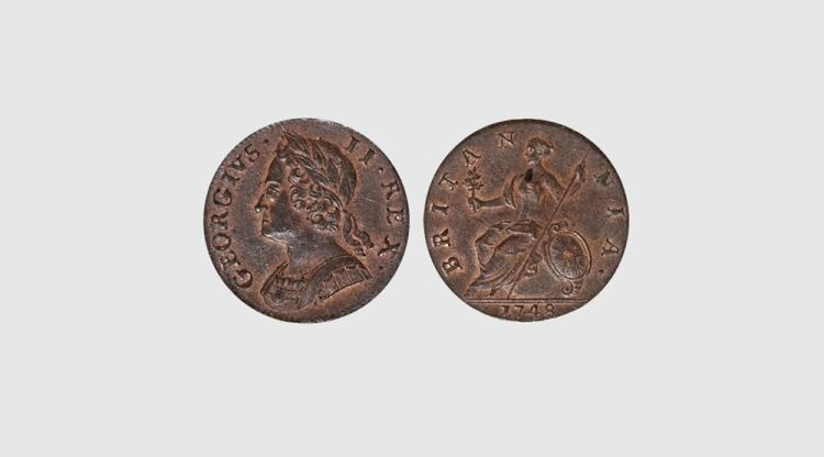 English Milled Coins - George II - 1748 - Halfpenny
