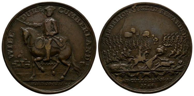 English Commemorative Medals - George II - 1746 - Duke of Cumberland Culloden Brass Medallion