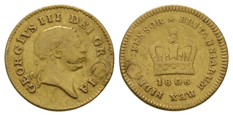 English Milled Coins - George III - 1806 - Gold Third Guinea