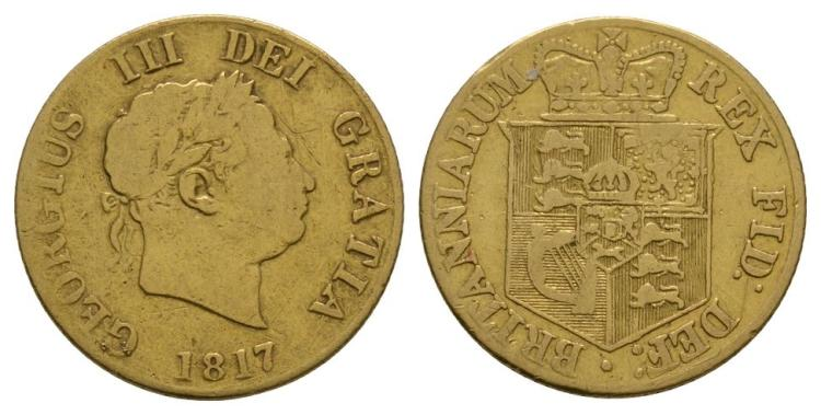 English Milled Coins - George III - 1817 - Gold Half Sovereign