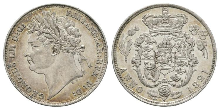 English Milled Coins - George IV - 1821 - Shilling