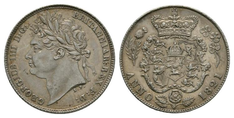 English Milled Coins - George IV - 1821 - Sixpence