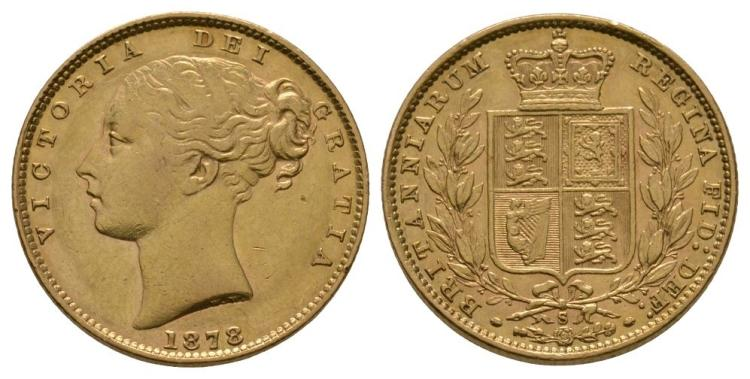 English Milled Coins - Victoria - 1878 S - Gold Sovereign