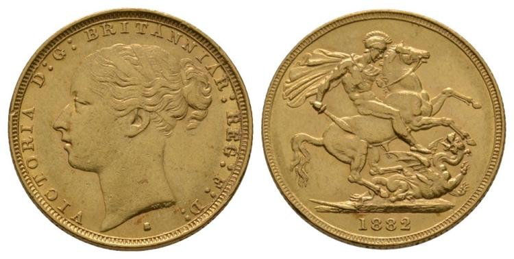 English Milled Coins - Victoria - 1882 S - Gold Sovereign