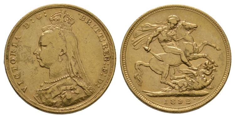 English Milled Coins - Victoria - 1892 - Gold Sovereign