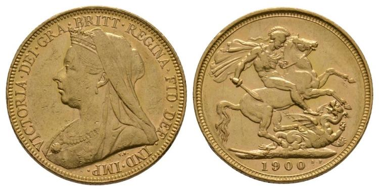 English Milled Coins - Victoria - 1900 M - Gold Sovereign