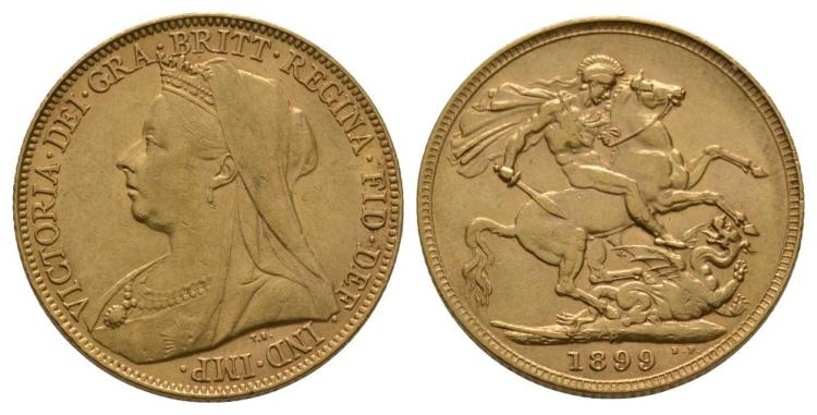 English Milled Coins - Victoria - 1899 P - Gold Sovereign