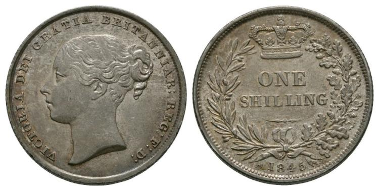 English Milled Coins - Victoria - 1845 - Shilling