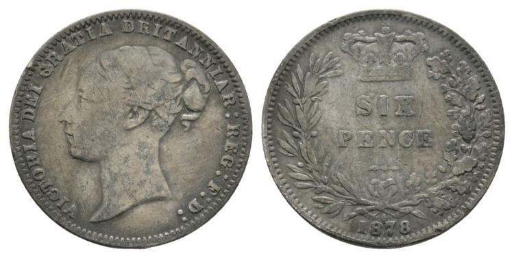 English Milled Coins - Victoria - 1878 Die 6 - 'DRITANNIAR' Error Sixpence