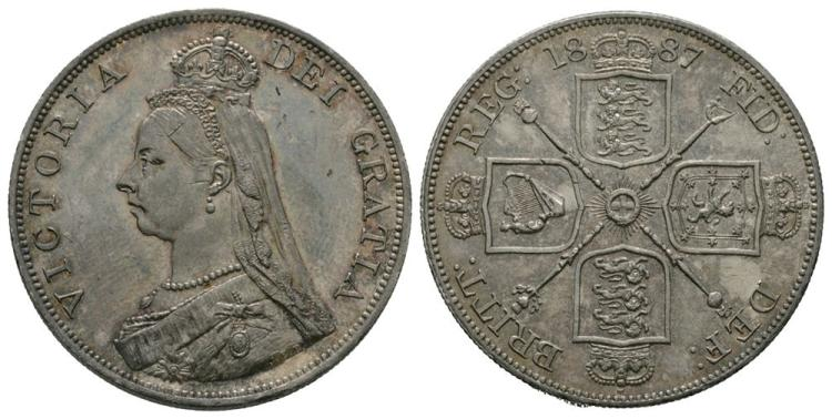 English Milled Coins - Victoria - 1887 Arabic - Double Florin