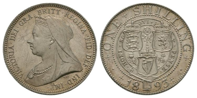 English Milled Coins - Victoria - 1893 - Shilling