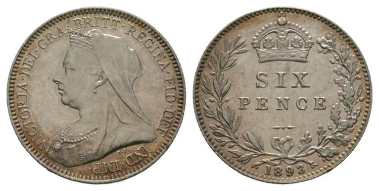 English Milled Coins - Victoria - 1893 - Sixpence
