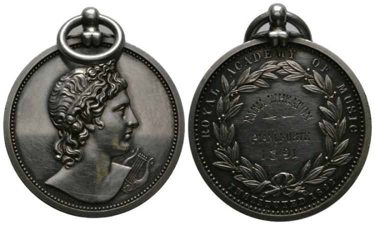 English Award Medals - Royal Academy of Music - 'Emma Wheaton Pianoforte 1891' - Silver Prize Medal
