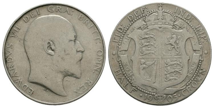 English Milled Coins - Edward VII - 1905 - Halfcrown