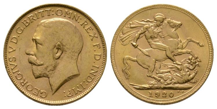 English Milled Coins - George V - 1920 P - Gold Sovereign