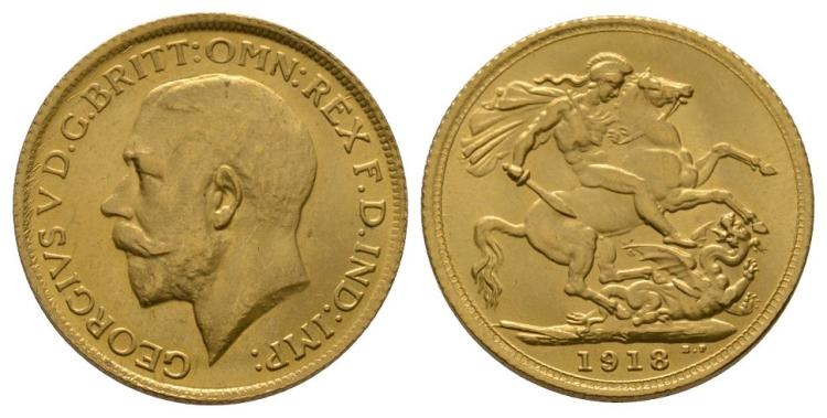 English Milled Coins - George V - 1918 S - Gold Sovereign