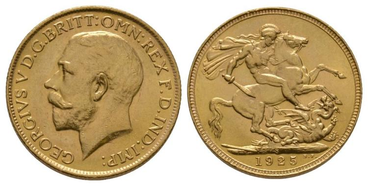 English Milled Coins - George V - 1925 S - Gold Sovereign