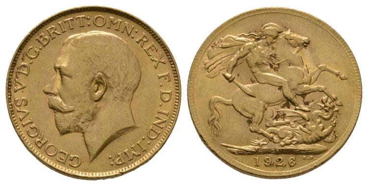 English Milled Coins - George V - 1926 SA - Gold Sovereign
