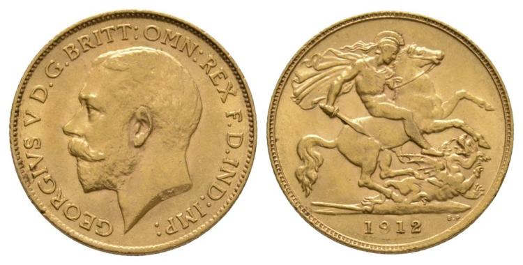 English Milled Coins - George V - 1912 - Gold Half Sovereign