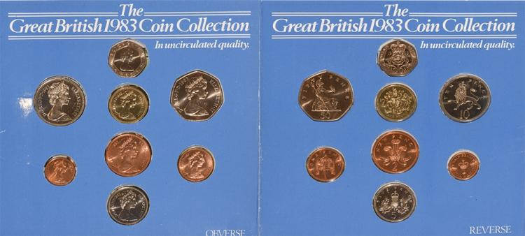 English Milled Coins - Elizabeth II - 1983 - 'Martini' Royal Mint Mule Two Pence Year Set