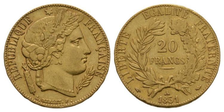 World Coins - France - 1851 A - Gold 20 Francs