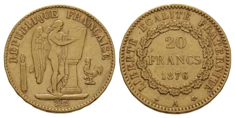 World Coins - France - 1876 A - Gold 20 Francs
