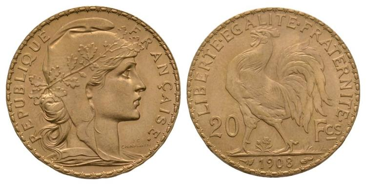 World Coins - France - 1908 - Gold 20 Francs