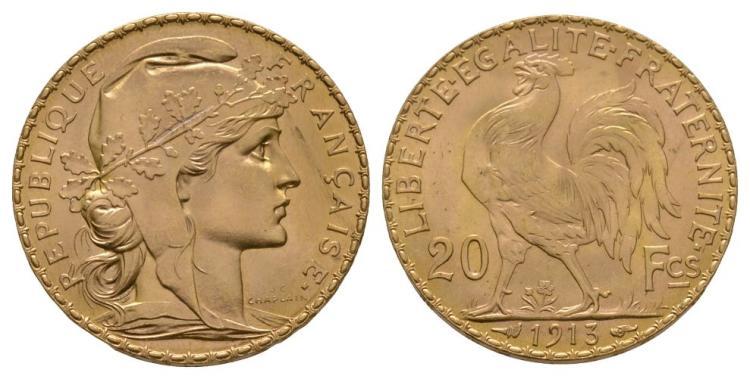 World Coins - France - 1913 - Gold 20 Francs