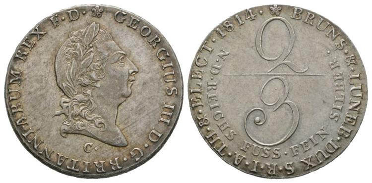World Coins - German States - Hannover - 1814 - 2/3 Thaler